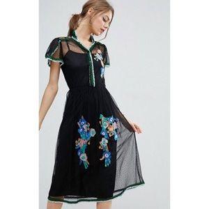 Asos Dot Mesh Embroidered Dress.